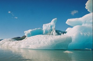 icebergs and lake
